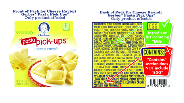 Gerber Recalls Cheese Raviolis Due Missing Egg Allergen Warning