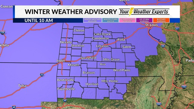 Winter weather advisory for Denton County through noon Thursday