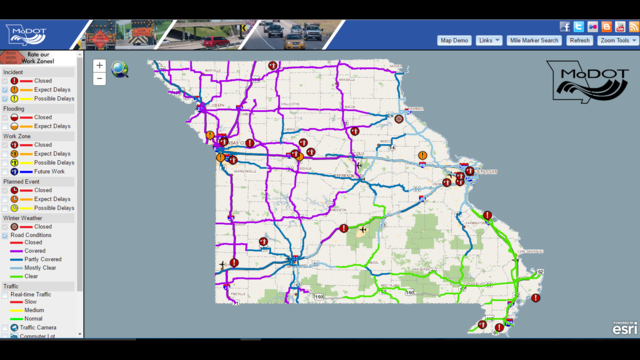 Modot Travelers Map MoDOT Traveler Map Shows Winter Storm Road Conditions Modot Travelers Map