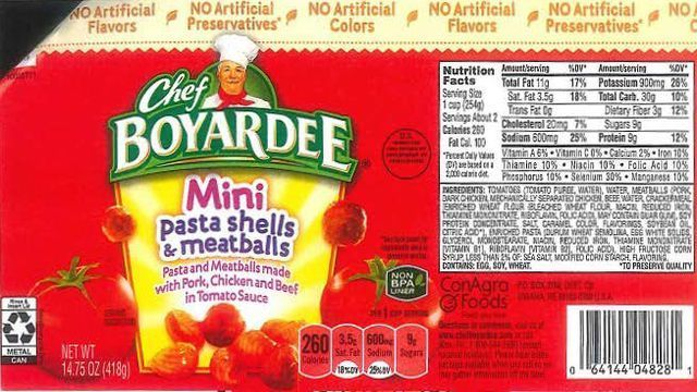 Maker of Chef Boyardee Recalls More Than 700,000 Pounds of Products