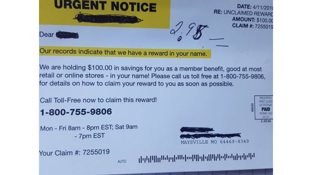 Postcard Scam About Unclaimed Reward Sent Out in Northern Missouri